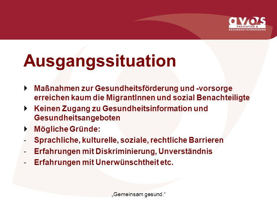 Ausgangssituation Maßnahmen zur Gesundheitsförderung und -vorsorge erreichen kaum die MigrantInnen und sozial Benachteiligte.