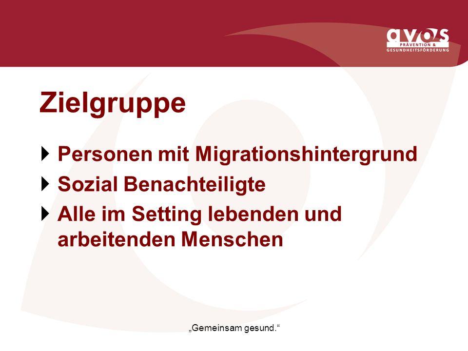 Zielgruppe Personen mit Migrationshintergrund Sozial Benachteiligte