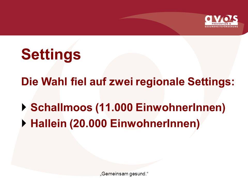 Settings Die Wahl fiel auf zwei regionale Settings: