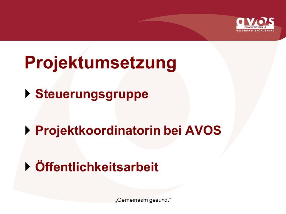 Projektumsetzung Steuerungsgruppe Projektkoordinatorin bei AVOS