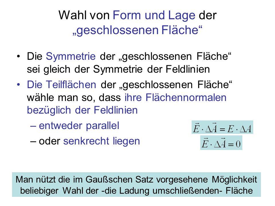 """Wahl von Form und Lage der """"geschlossenen Fläche"""