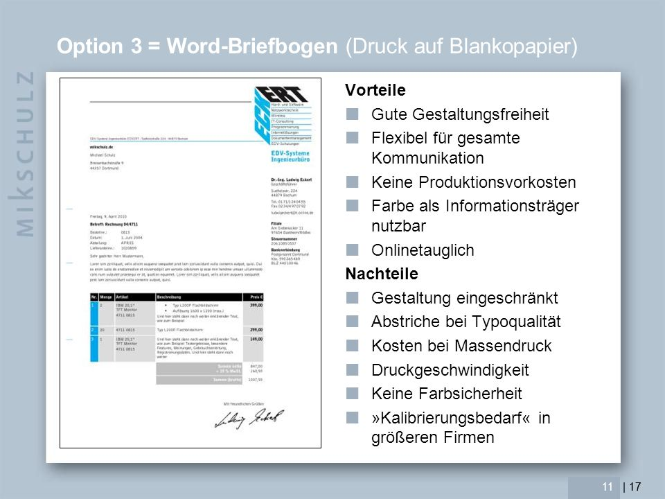 Option 3 = Word-Briefbogen (Druck auf Blankopapier)