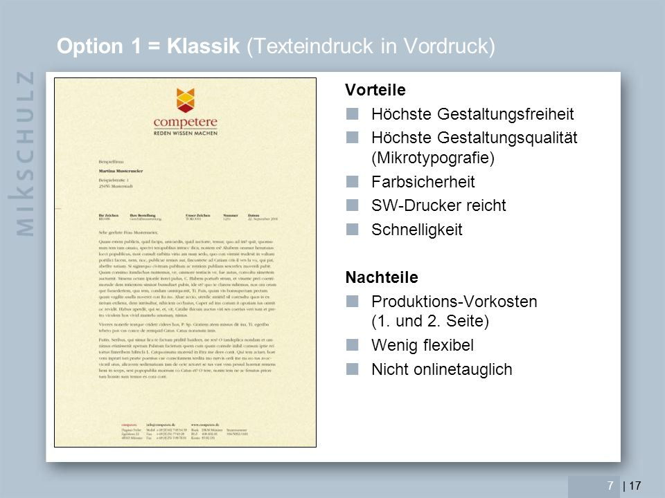 Option 1 = Klassik (Texteindruck in Vordruck)