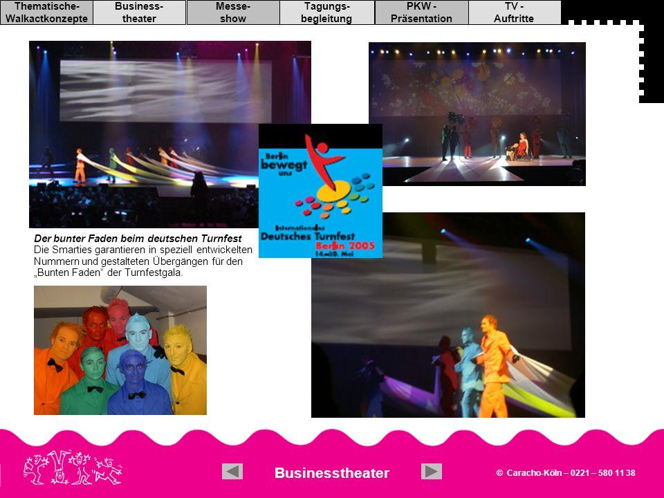 """Der bunter Faden beim deutschen Turnfest Die Smarties garantieren in speziell entwickelten Nummern und gestalteten Übergängen für den """"Bunten Faden der Turnfestgala."""