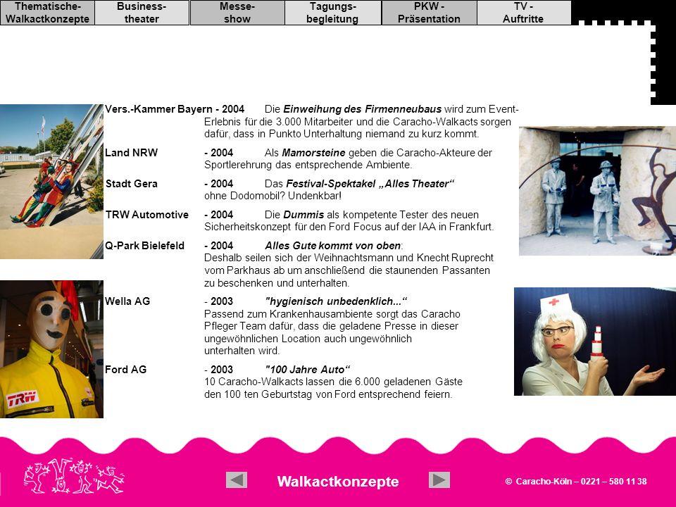 Vers.-Kammer Bayern - 2004 Die Einweihung des Firmenneubaus wird zum Event- Erlebnis für die 3.000 Mitarbeiter und die Caracho-Walkacts sorgen dafür, dass in Punkto Unterhaltung niemand zu kurz kommt.