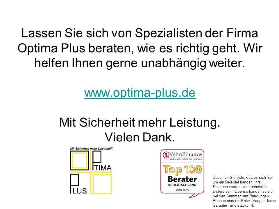 Lassen Sie sich von Spezialisten der Firma Optima Plus beraten, wie es richtig geht. Wir helfen Ihnen gerne unabhängig weiter. www.optima-plus.de Mit Sicherheit mehr Leistung. Vielen Dank.