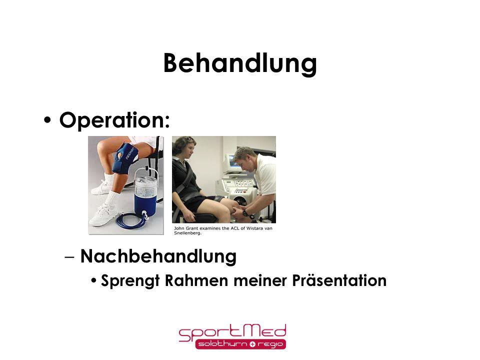 Behandlung Operation: Nachbehandlung