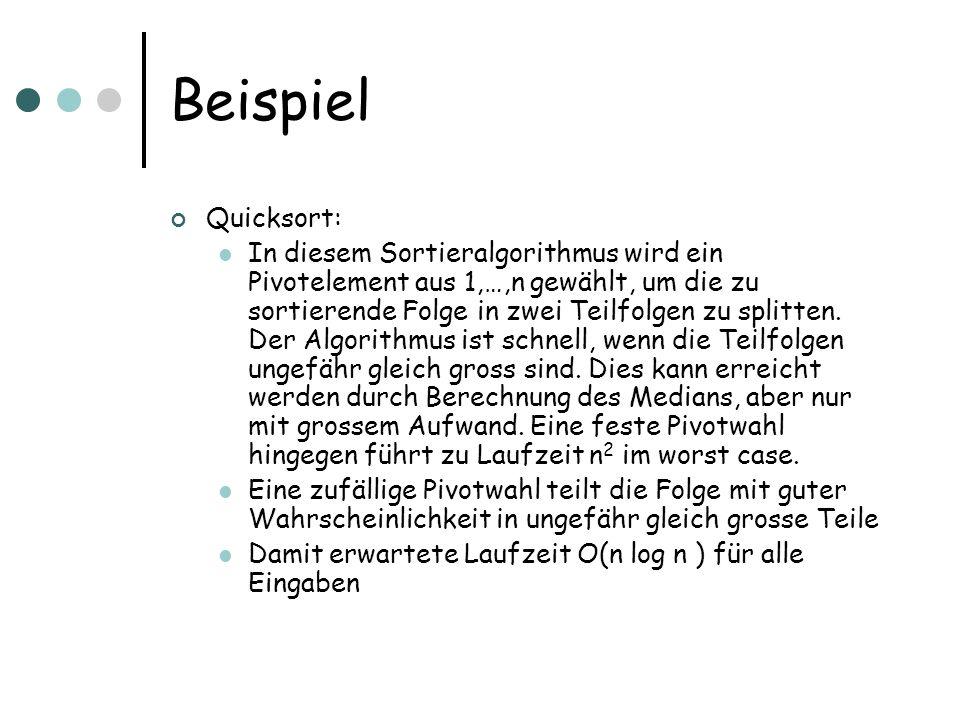 Beispiel Quicksort: