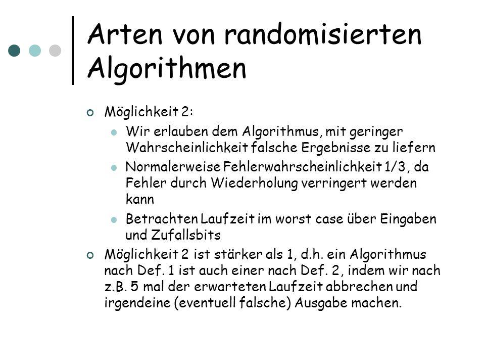 Arten von randomisierten Algorithmen