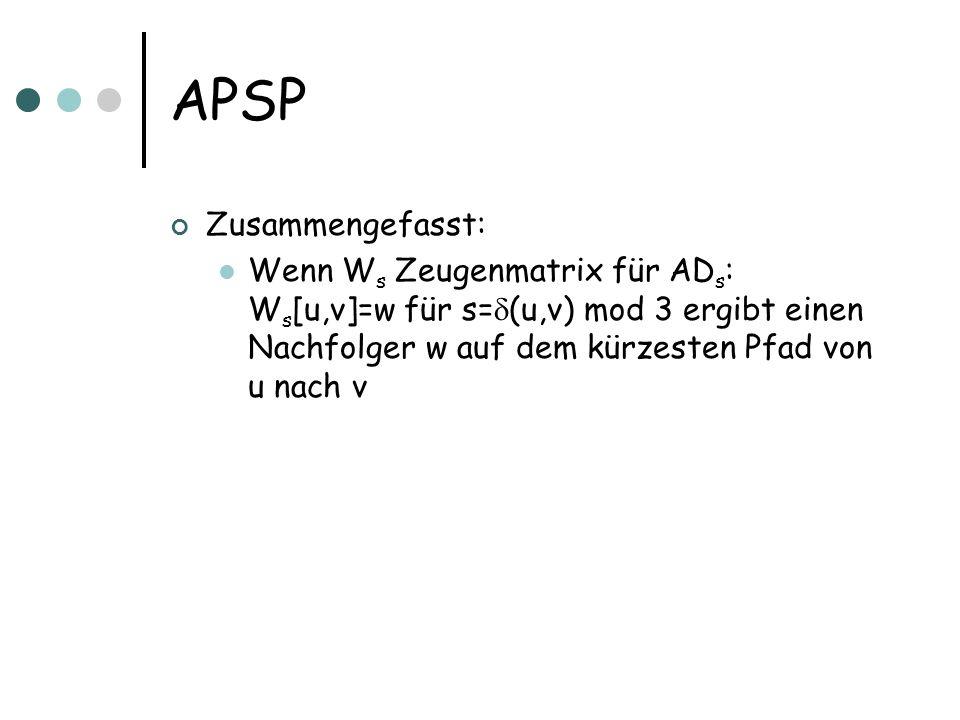 APSP Zusammengefasst: