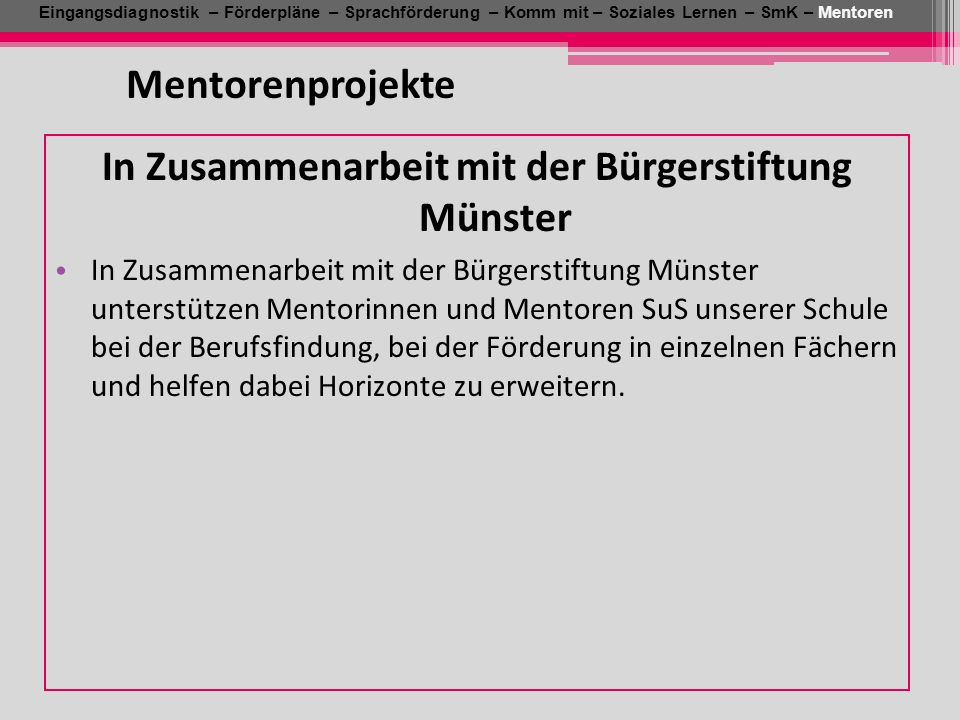 In Zusammenarbeit mit der Bürgerstiftung Münster