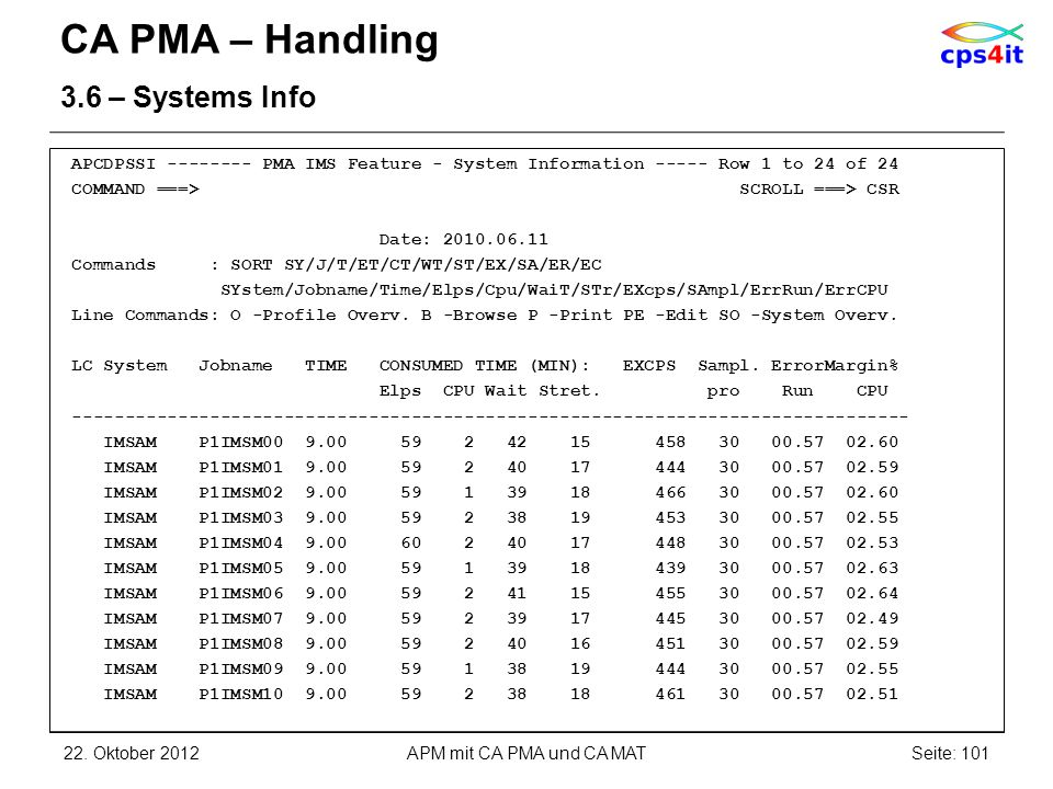 CA PMA – Handling 3.6 – Systems Info