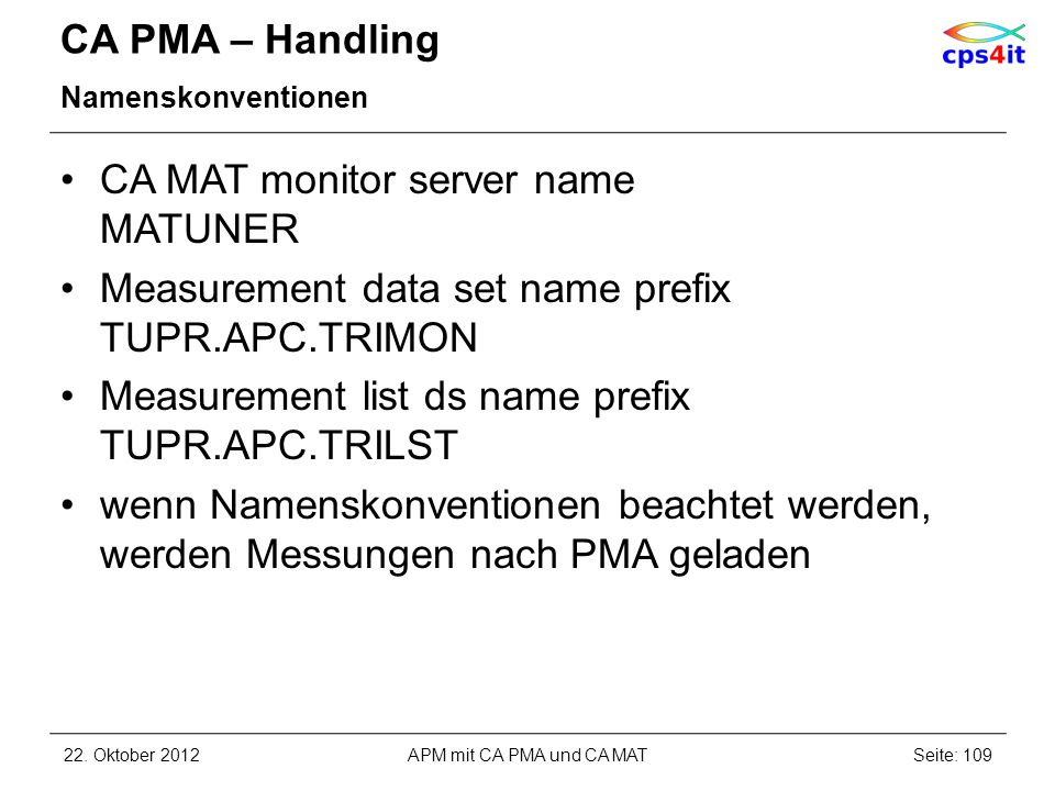 CA MAT monitor server name MATUNER