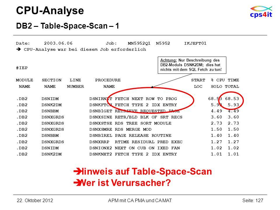 CPU-Analyse Hinweis auf Table-Space-Scan Wer ist Verursacher
