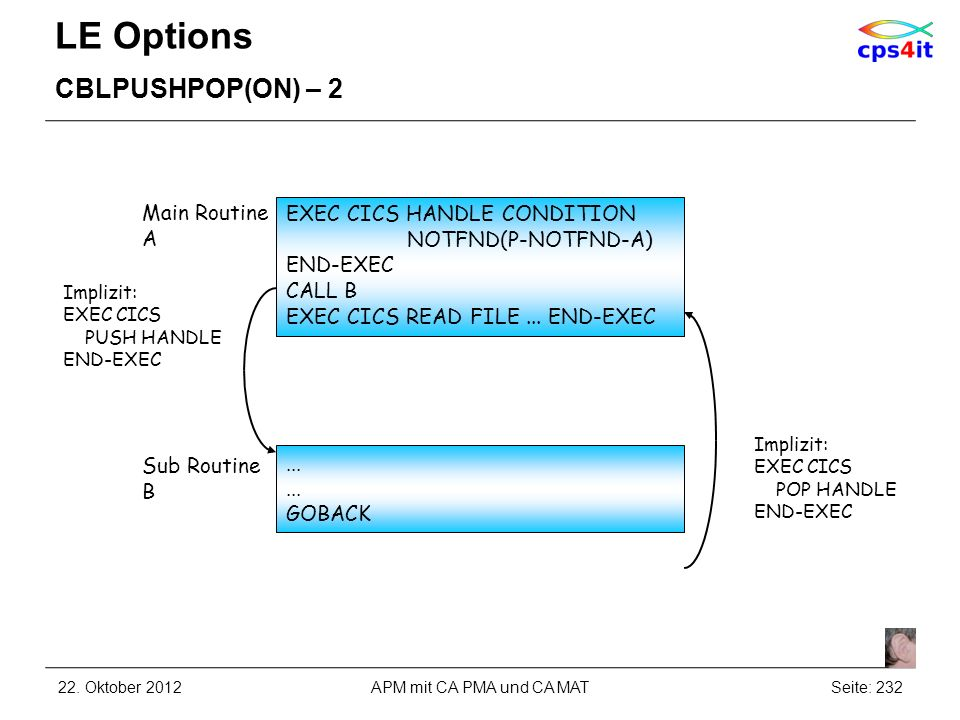 LE Options CBLPUSHPOP(ON) – 2 Main Routine A
