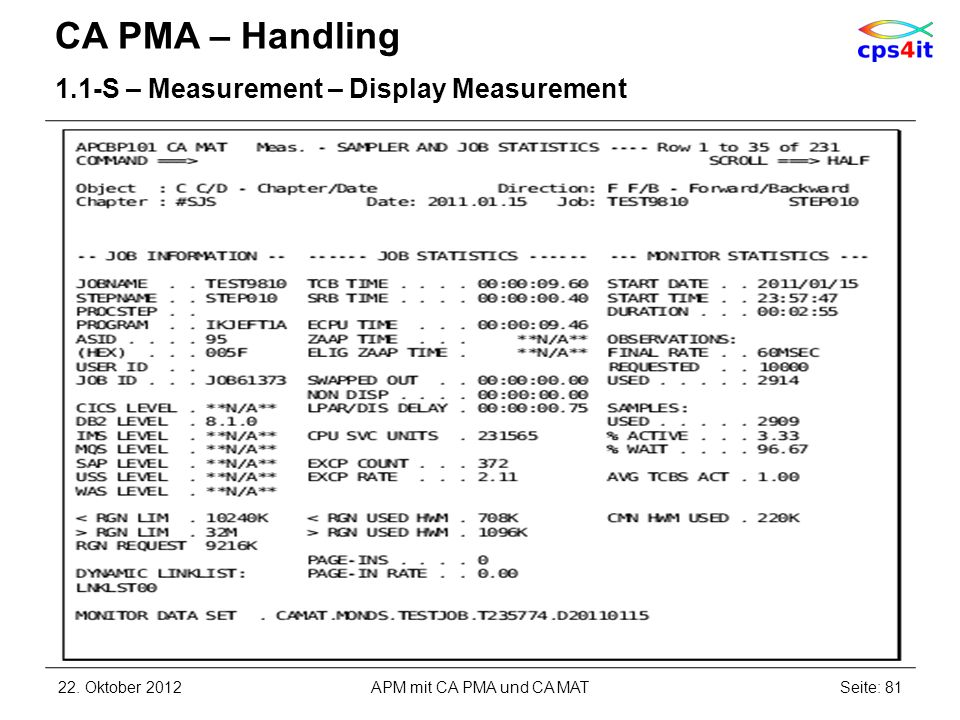 CA PMA – Handling 1.1-S – Measurement – Display Measurement