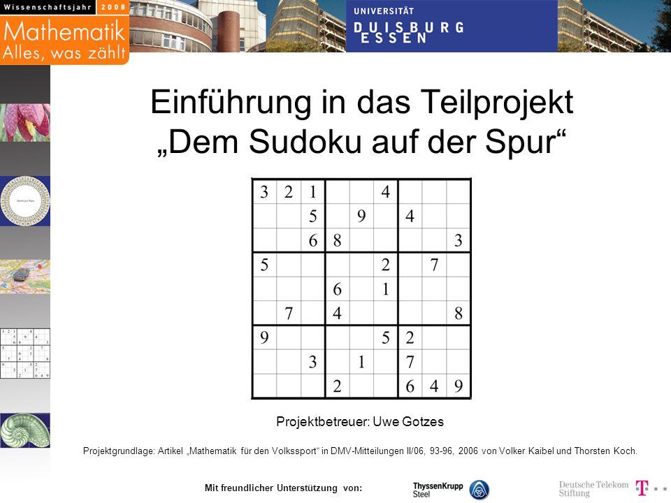 """Einführung in das Teilprojekt """"Dem Sudoku auf der Spur"""