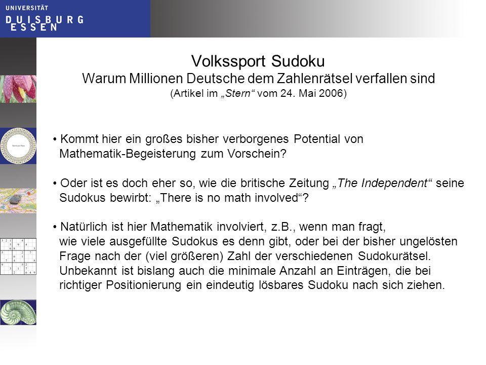 """Volkssport Sudoku Warum Millionen Deutsche dem Zahlenrätsel verfallen sind (Artikel im """"Stern vom 24. Mai 2006)"""
