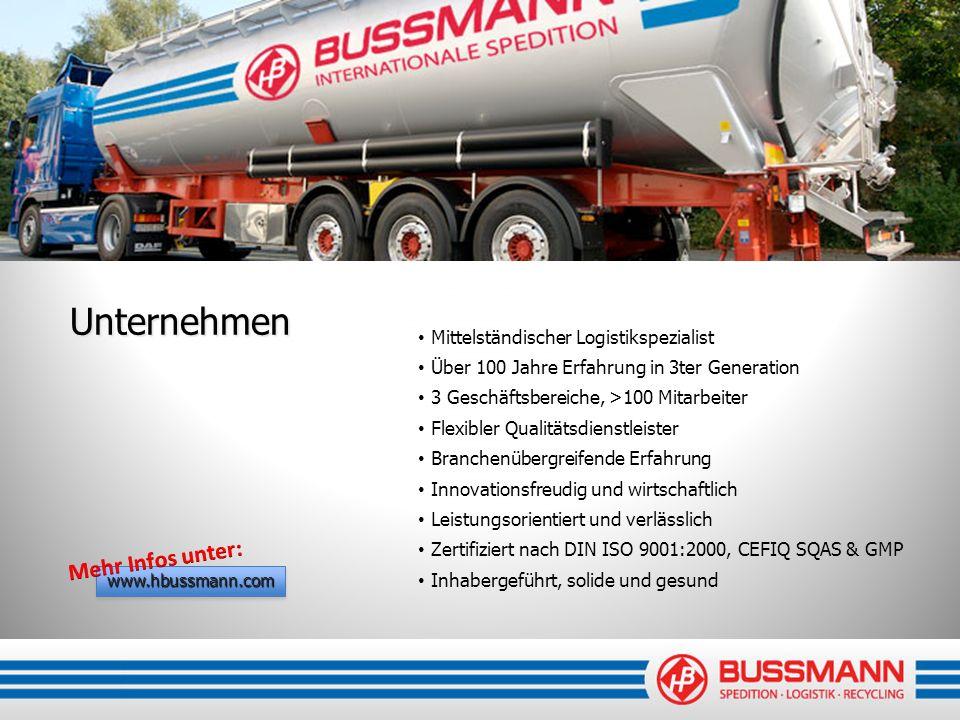 Unternehmen Mehr Infos unter: Mittelständischer Logistikspezialist