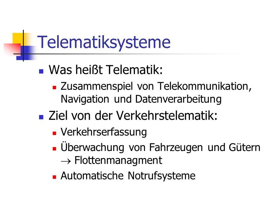 Telematiksysteme Was heißt Telematik: Ziel von der Verkehrstelematik: