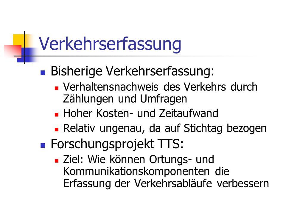 Verkehrserfassung Bisherige Verkehrserfassung: Forschungsprojekt TTS:
