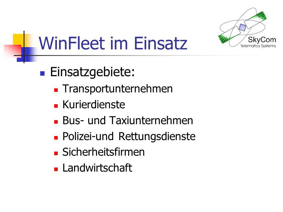 WinFleet im Einsatz Einsatzgebiete: Transportunternehmen Kurierdienste