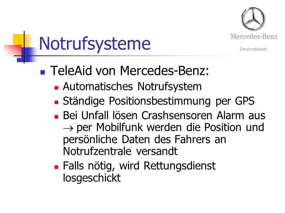 Notrufsysteme TeleAid von Mercedes-Benz: Automatisches Notrufsystem