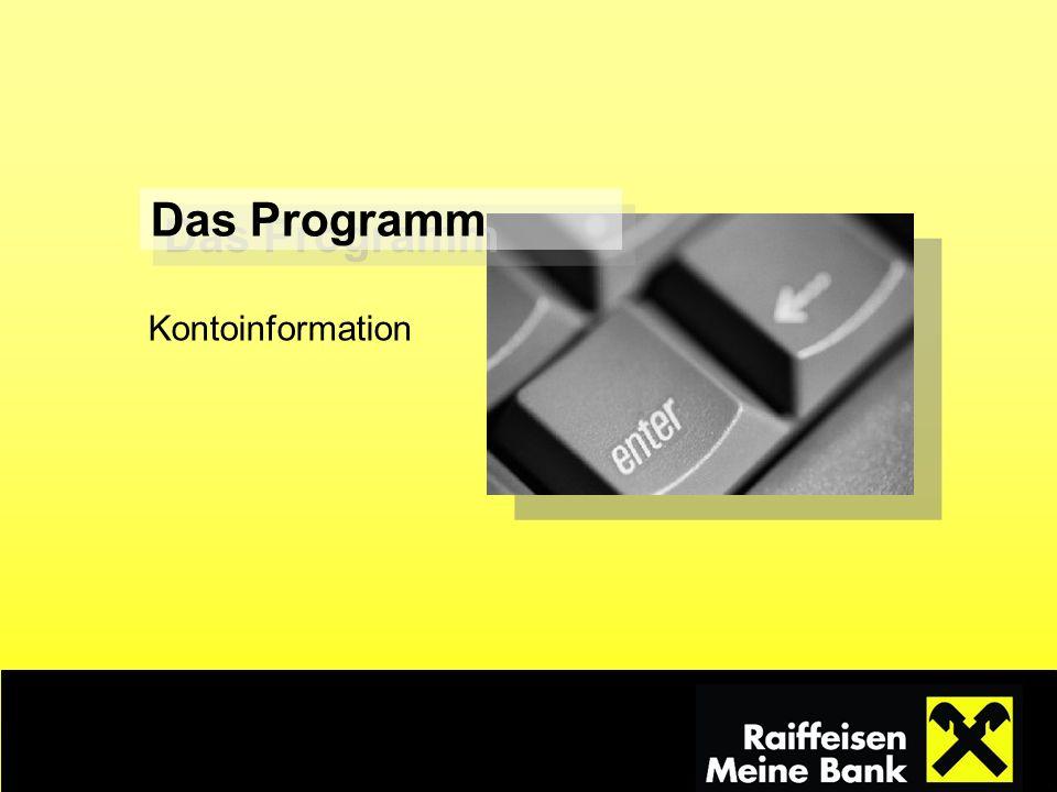Das Programm Kontoinformation