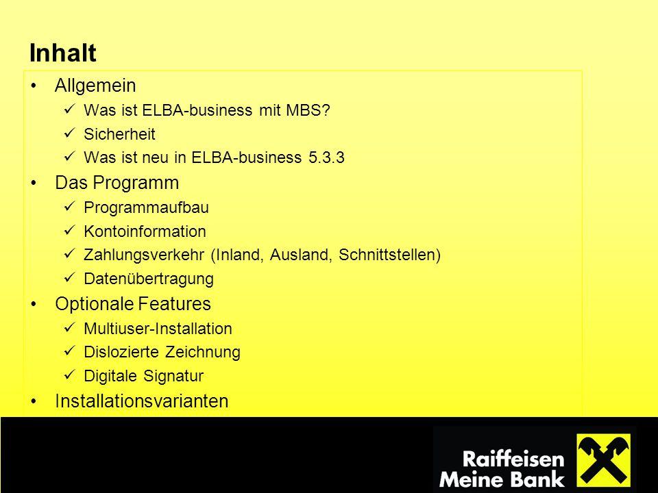 Inhalt Allgemein Das Programm Optionale Features