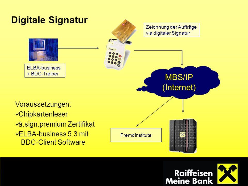 Digitale Signatur MBS/IP (Internet) Voraussetzungen: Chipkartenleser