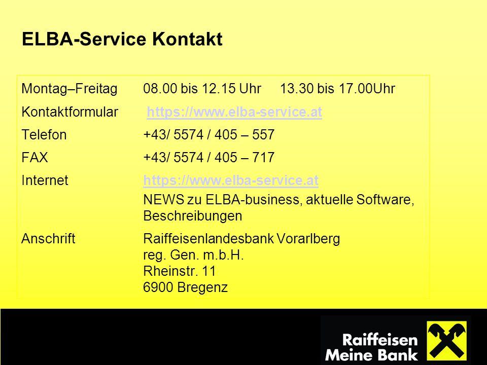 ELBA-Service Kontakt Montag–Freitag 08.00 bis 12.15 Uhr 13.30 bis 17.00Uhr. Kontaktformular https://www.elba-service.at.