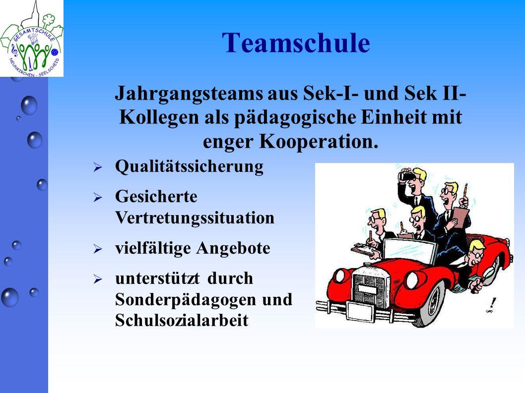 Teamschule Jahrgangsteams aus Sek-I- und Sek II- Kollegen als pädagogische Einheit mit enger Kooperation.