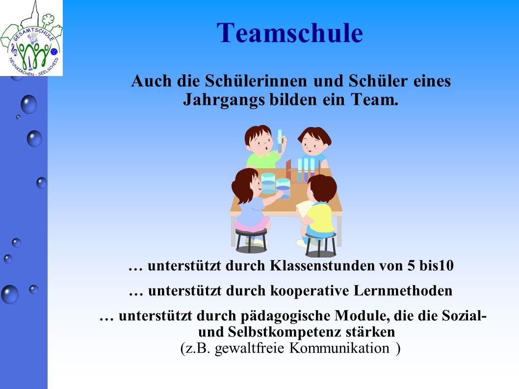 Teamschule Auch die Schülerinnen und Schüler eines Jahrgangs bilden ein Team. … unterstützt durch Klassenstunden von 5 bis10.