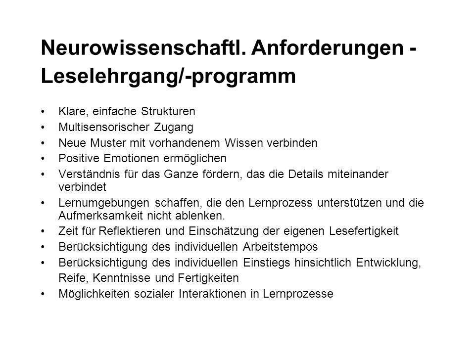 Neurowissenschaftl. Anforderungen - Leselehrgang/-programm