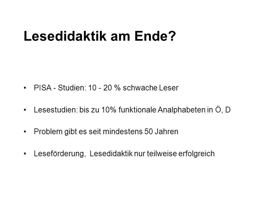 Lesedidaktik am Ende PISA - Studien: 10 - 20 % schwache Leser