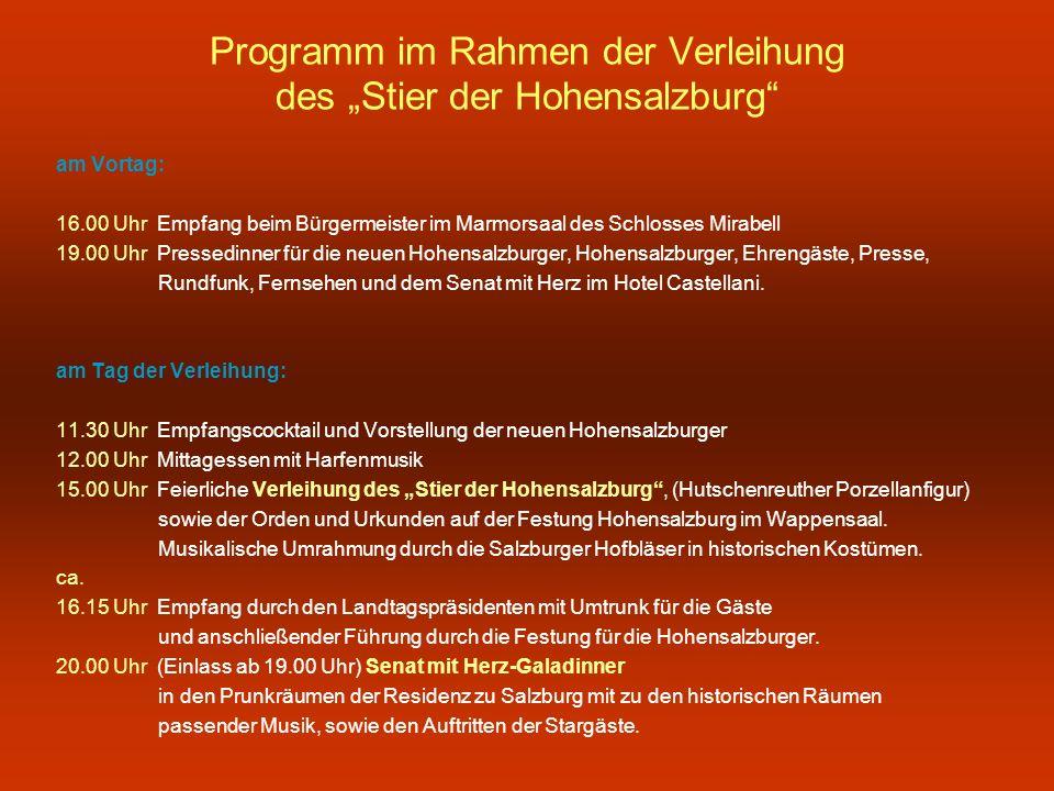 """Programm im Rahmen der Verleihung des """"Stier der Hohensalzburg"""