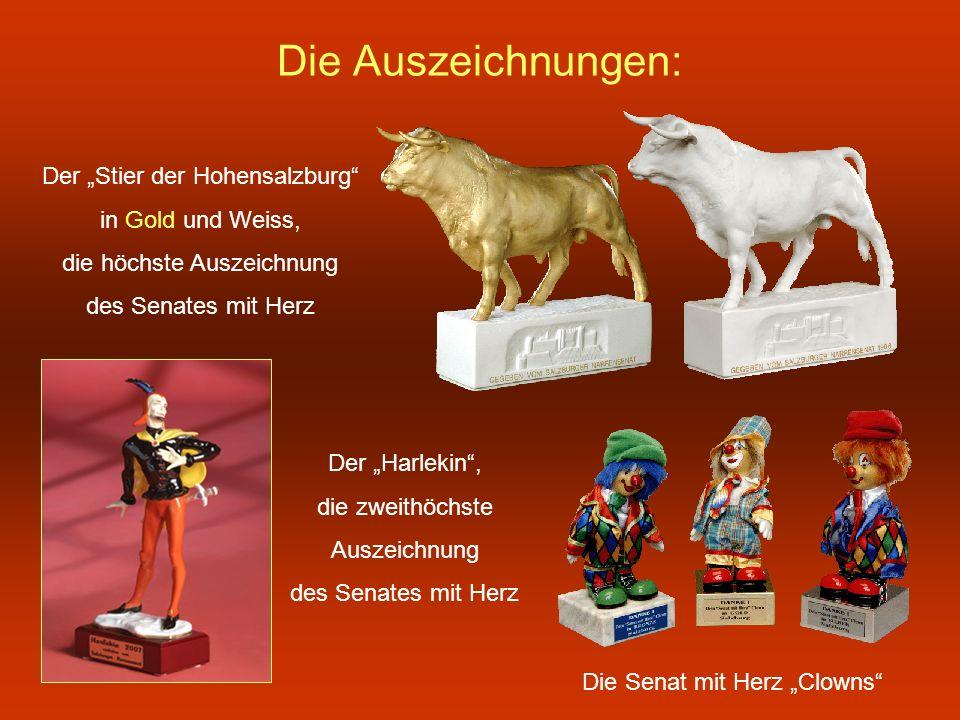 """Die Auszeichnungen: Der """"Stier der Hohensalzburg in Gold und Weiss,"""