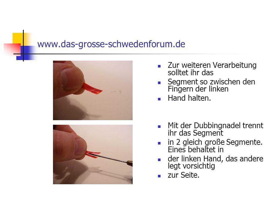 www.das-grosse-schwedenforum.de Zur weiteren Verarbeitung solltet ihr das. Segment so zwischen den Fingern der linken.