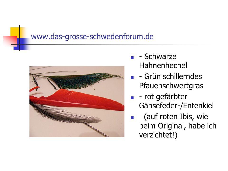 www.das-grosse-schwedenforum.de - Schwarze Hahnenhechel. - Grün schillerndes Pfauenschwertgras. - rot gefärbter Gänsefeder-/Entenkiel.