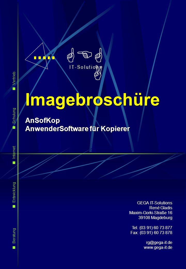 GEGA Imagebroschüre AnSofKop AnwenderSoftware für Kopierer