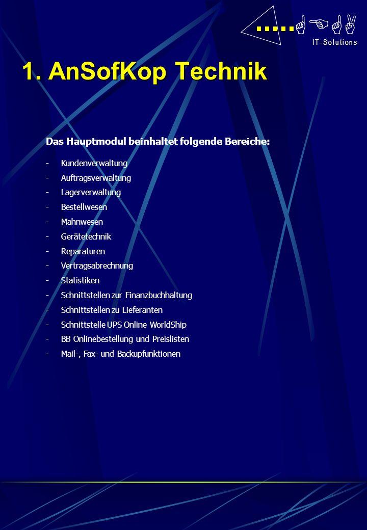 1. AnSofKop Technik Das Hauptmodul beinhaltet folgende Bereiche:
