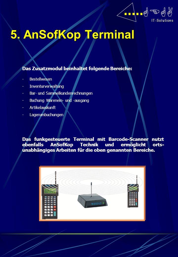 5. AnSofKop Terminal Das Zusatzmodul beinhaltet folgende Bereiche: