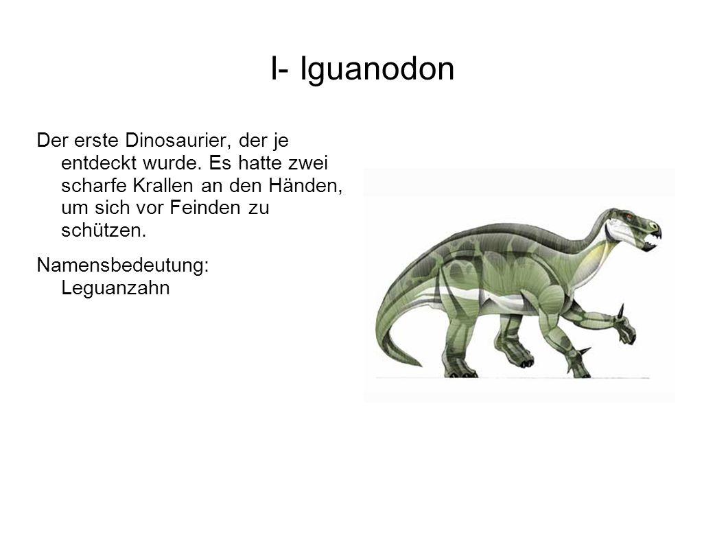 I- Iguanodon Der erste Dinosaurier, der je entdeckt wurde. Es hatte zwei scharfe Krallen an den Händen, um sich vor Feinden zu schützen.