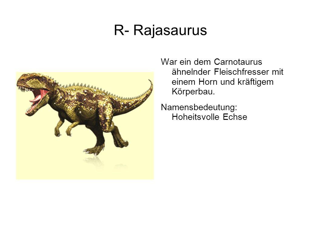 R- Rajasaurus War ein dem Carnotaurus ähnelnder Fleischfresser mit einem Horn und kräftigem Körperbau.