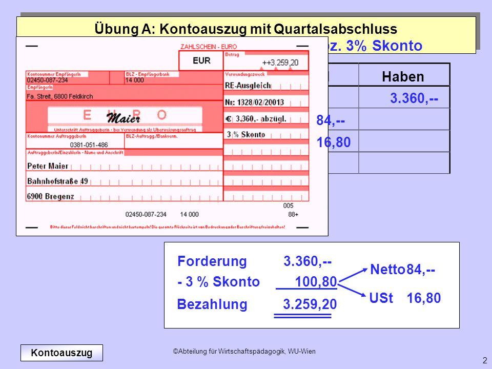 24.09. Zahlung des Kunden Maier abz. 3% Skonto