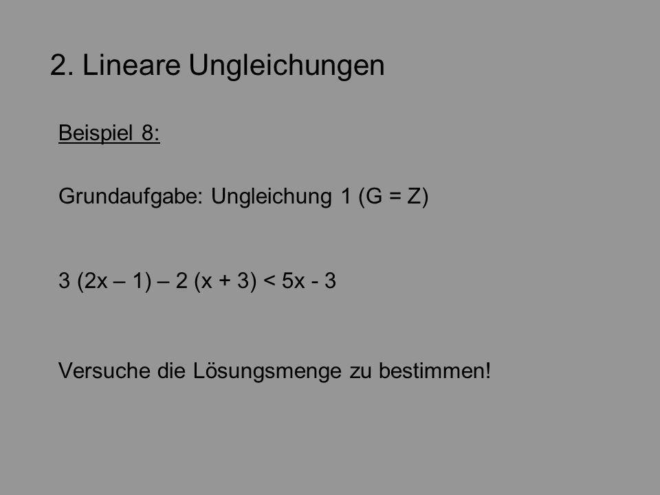 2. Lineare Ungleichungen