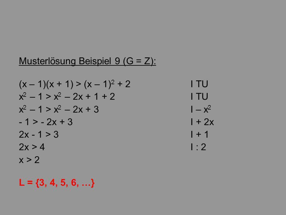 Musterlösung Beispiel 9 (G = Z):