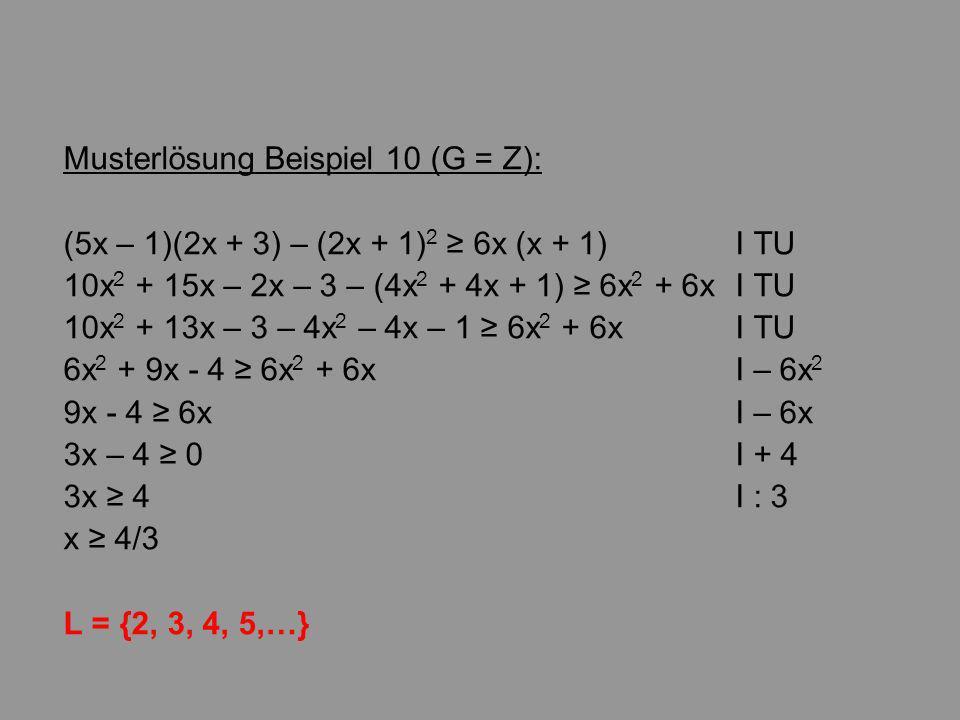 Musterlösung Beispiel 10 (G = Z):