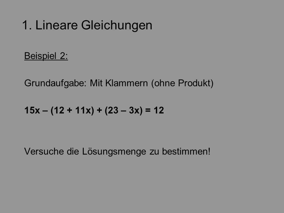 1. Lineare Gleichungen Beispiel 2:
