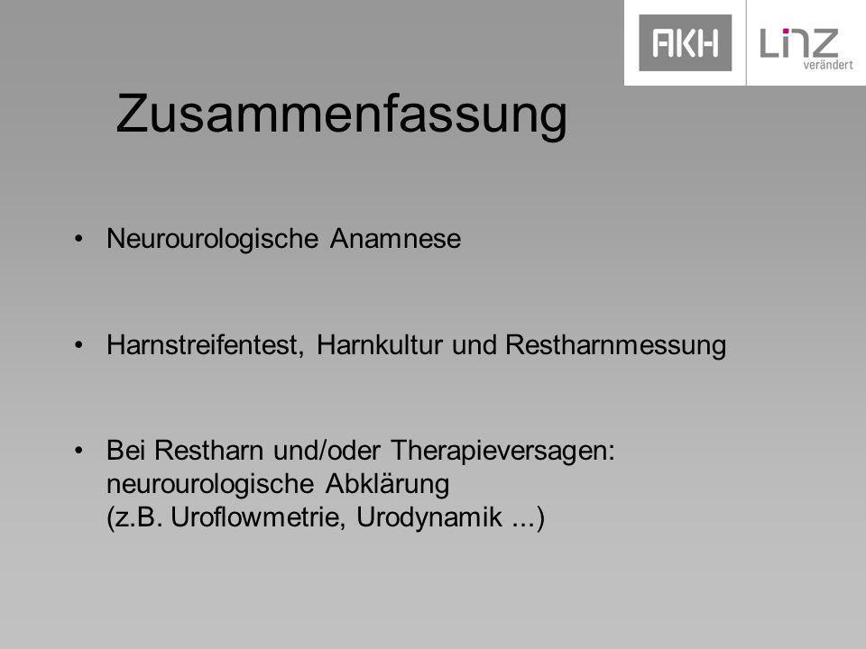 Zusammenfassung Neurourologische Anamnese